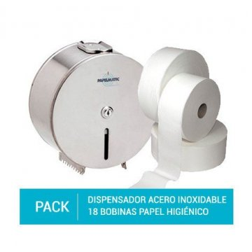 Pack Dispensador Papel Higiénico Acero inoxidable + 18 Bobinas de Papel Higiénico de 2 capas