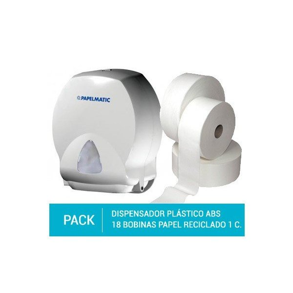 Dispensador Papel Higiénico Plástico ABS + Pack 18 Bobinas Papel Higiénico Reciclado Gofrado