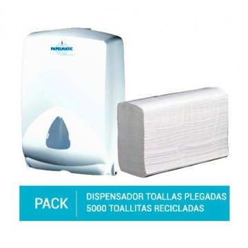 Dispensador Papel Toallas Plegadas + Pack 5000 Toallitas Plegadas Papel Reciclado