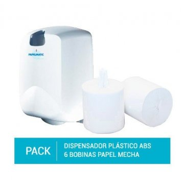 Dispensador Papel Mecha Plástico ABS + Pack 6 Bobinas Secamanos Papel Mecha