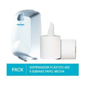 Dispensador Papel Mecha Plástico ABS + Pack 6 Bobinas Papel Mecha 100% Pasta