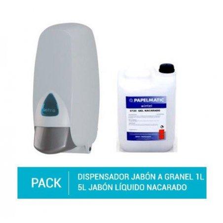 Dispensador Jabón A Granel. Capacidad 1L. + Bidón 5L Jabón Líquido Nacarado