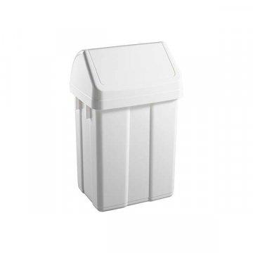 Papelera Plástico 12L Tapa Basculante MAX Blanco