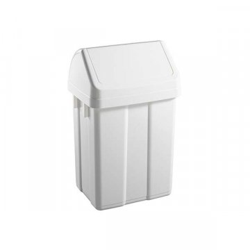 Papelera Plástico 25L Tapa Basculante MAX Blanco