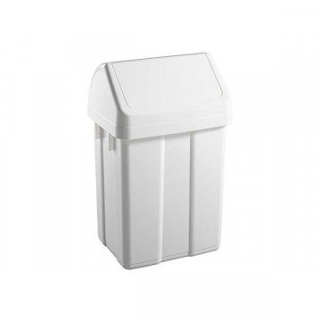 Papelera Plástico 50L Tapa Basculante MAX Blanco