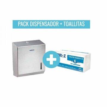 Pack Dispensador Toallitas Secamanos Inox + 3920 Toallitas Plegadas