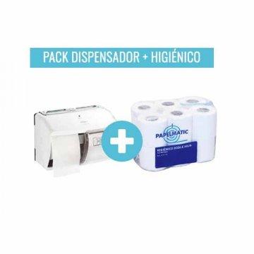 Pack Dispensador Papel Higiénico Doble + 96 Rollos Papel Higiénico