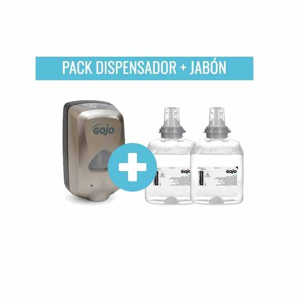 Pack Dispensador Jabón Automático GOJO TFX 1200ML. Cromado. + Pack 2 Cargas TFX Jabón En Espuma GOJO Mild Foam 1200ML