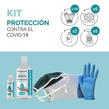Kit de protección sanitaria (Mascarilla+Guantes+Antiséptico)