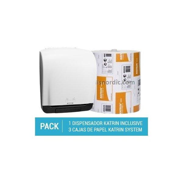 Pack Dispensador Papel Higiénico Katrin System + 3 cajas de Papel Higiénico