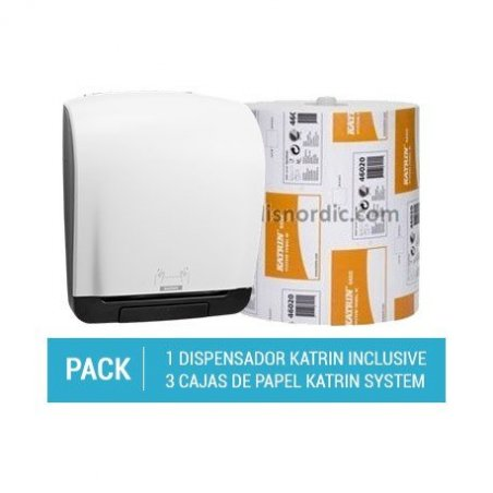 Pack Dispensador Autocut Katrin System + 3 cajas de Papel Secamanos Katrin System Towel Basic
