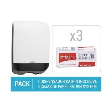 Pack Dispensador Katrin Hand Towel M + 3 cajas de Toallas Secamanos Katrin Towel L3
