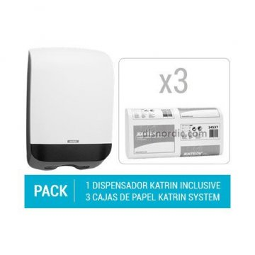 Pack Dispensador Katrin Hand Towel M + 3 cajas de Toallitas Secamanos Katrin Towel Easy Flush
