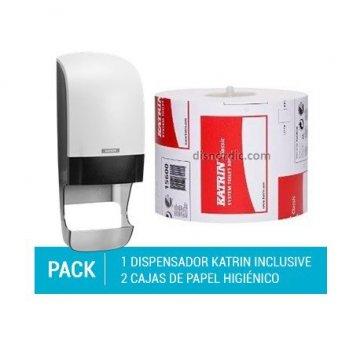 Pack Dispensador Papel Higiénico con recogedor de rollo + 2 cajas de Papel Higiénico Katrin System Toilet