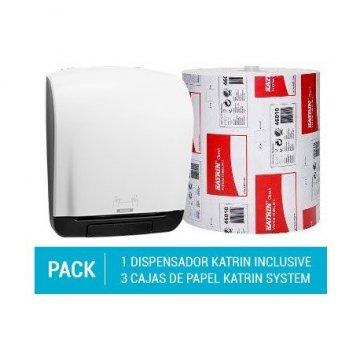 Pack Dispensador Autocut Katrin System + 3 cajas de Papel Secamanos Katrin Doble Capa