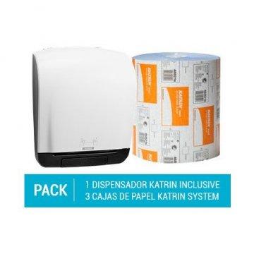 Pack Dispensador Autocut Katrin System + 3 cajas de Papel Secamanos Katrin Una Capa